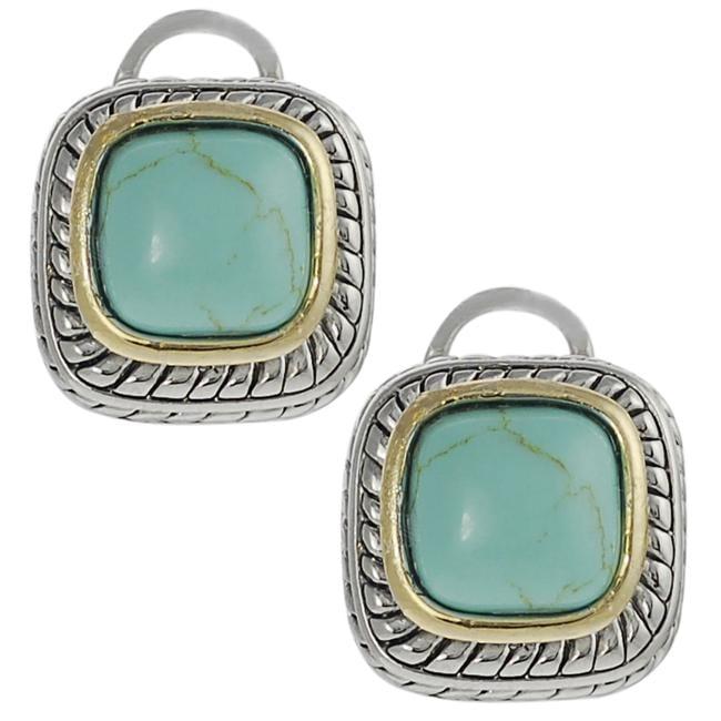 Two-tone Cushion-cut Created Turquoise Earrings