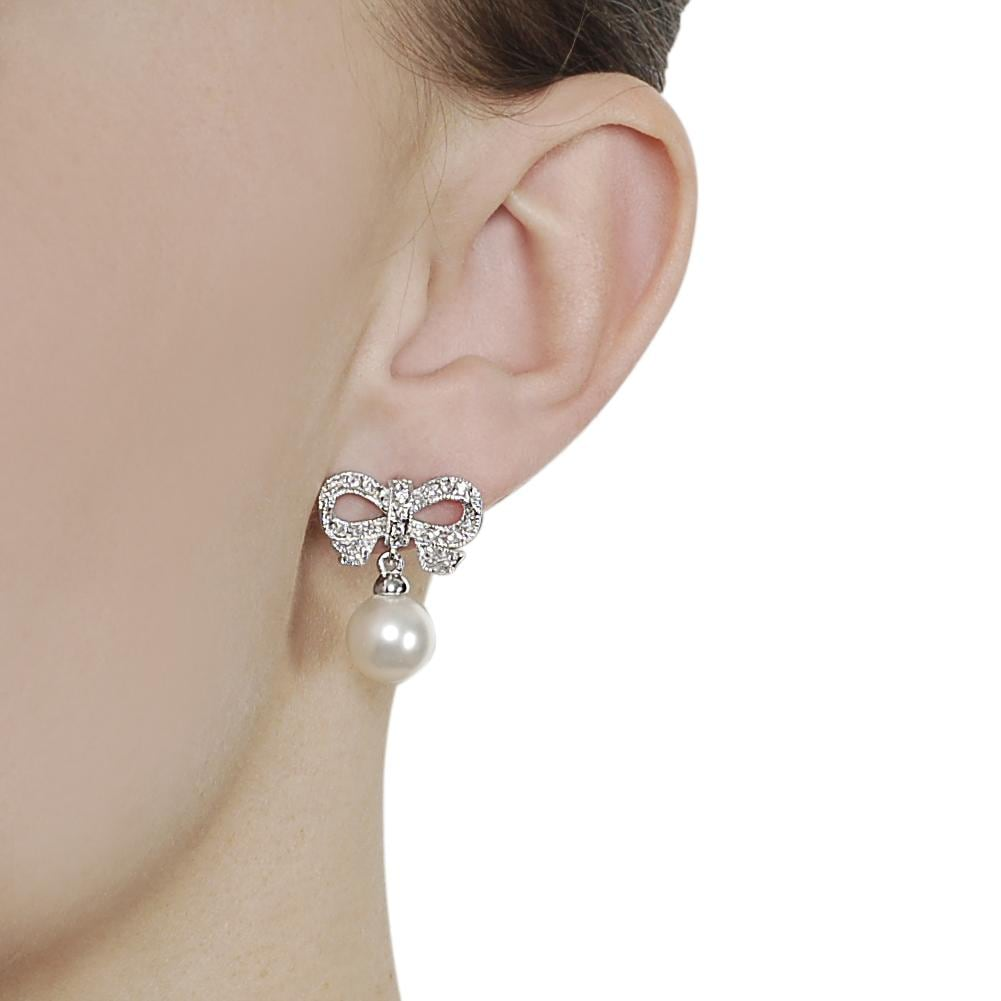 Journee Collection Silvertone Pave-set CZ and Faux Pearl Bow Earrings