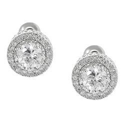 Silvertone Round-cut Cubic Zirconia Stud Earrings