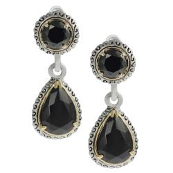 Journee Collection Silvertone Round-cut and Teardrop Black CZ Dangle Earrings