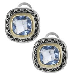 Two-tone Cushion-cut Cubic Zirconia Earrings