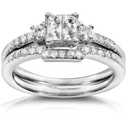 14k White Gold 1/2ct TDW Diamond Bridal Ring Set