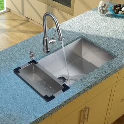 Vigo Undermount Stainless Steel Kitchen Sink, Faucet, Colander, Strainer and Dispenser