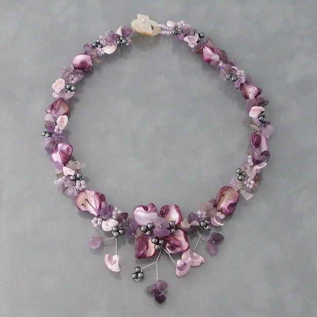 Purple Amethyst and Shells Hidden Floral Necklace (Philippines)