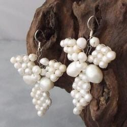 Silver Butterfly White Freshwater Pearl Earrings (4-9 mm) (Thailand)