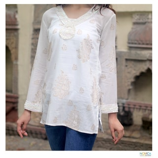 Cotton 'Paisley Luxury' Beaded Tunic (India)