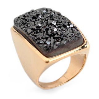 Gold Overlay 'Night Goddess' Drusy Agate Ring (Brazil)