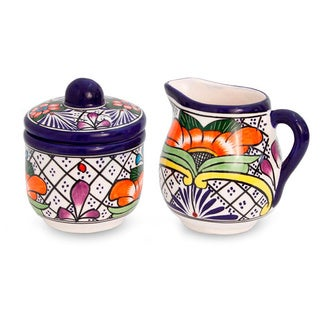 Set of 2 Ceramic 'Guanajuato Flora' Creamer Sugar Bowl (Mexico)
