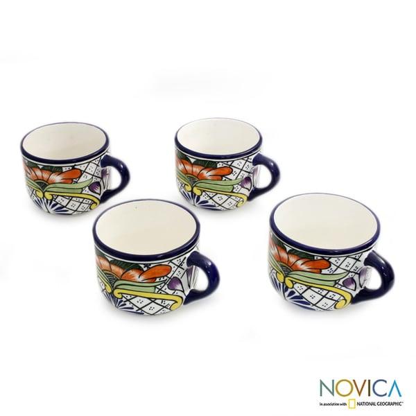 Handmade Set of 4 Ceramic 'Guanajuato Flora' Talavera Coffee Cups (Mexico) 10278068