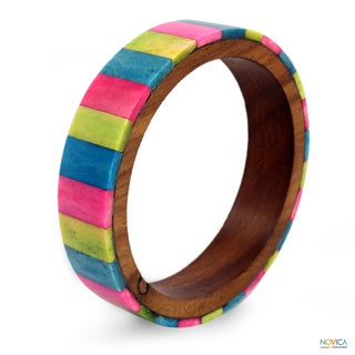 Sheesham Wood and Buffalo Bone 'Tropical Tones' Bracelet (India)