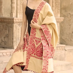 Silk Polyester Blend 'Nature's Freedom' Shawl (India)