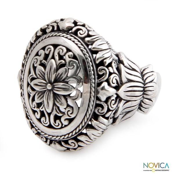 Sterling Silver 'Precious Lotus' Ring (Indonesia)