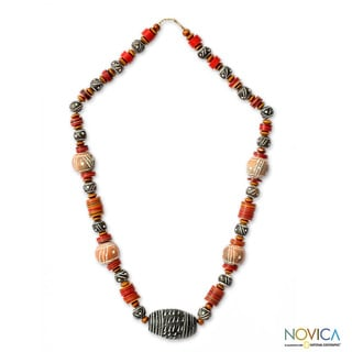 Handcrafted Ceramic and Wood 'Tempoka' Beaded Necklace (Ghana)