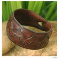 Handcrafted Leather Men's 'Ayutthaya Brown' Bracelet (Thailand)