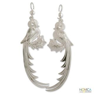 Sterling Silver 'Mystical Quetzal' Earrings (Guatemala)