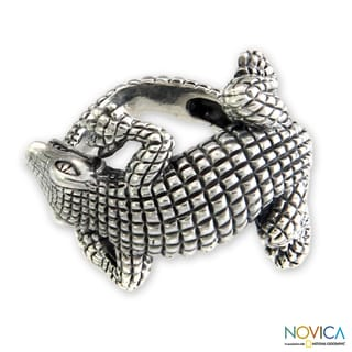 Sterling Silver 'Baby Crocodile' Ring (Indonesia)