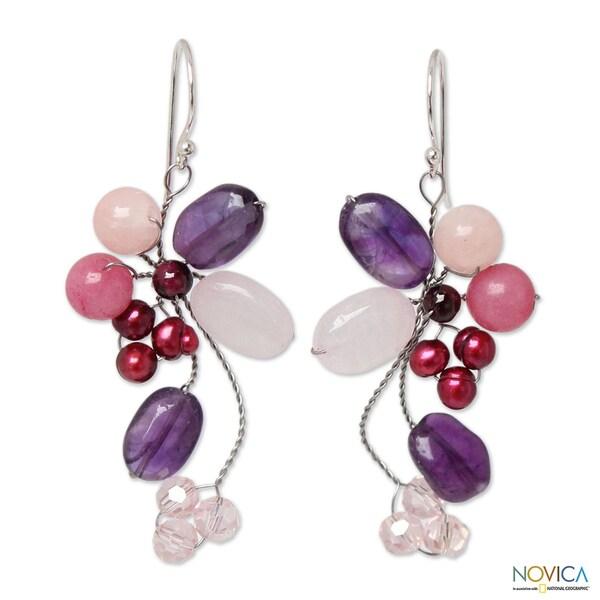 Pearl 'Purple Bouquet' Multi-gemstone Earrings (3-3.5 mm) (Thailand)