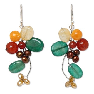 Pearl 'Golden Bouquet' Multi-gemstone Earrings (4-4.5 mm) (Thailand)