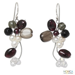 Pearl 'Radiant Bouquet' Multi-gemstone Earrings (4-4.5 mm) (Thailand)
