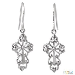 Sterling Silver 'Ornate Cross' Earrings (Thailand)