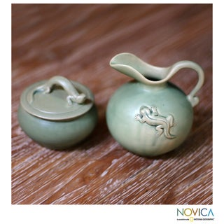 Handcrafted Ceramic 'Gecko Fancy' Sugar Bowl and Creamer (Indonesia)