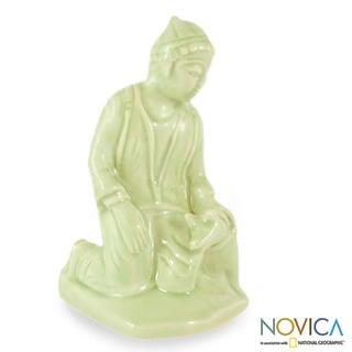 Celadon Ceramic 'Mercy Karen' Figurine (Thailand)
