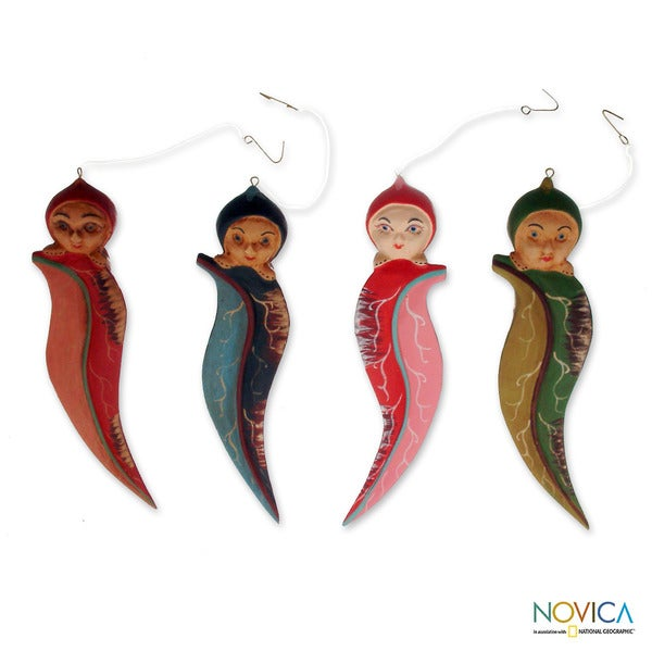 Set of 4 Handcrafted Albesia Wood 'Forest Elves' Ornaments(Indonesia)
