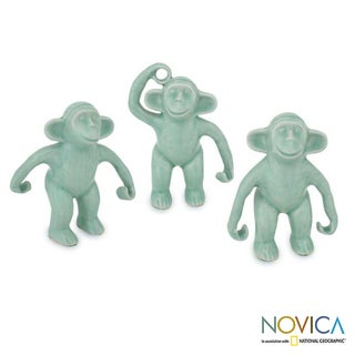 Set of 3 Celadon Ceramic 'Chimps Hang Out' Figurines (Thailand)