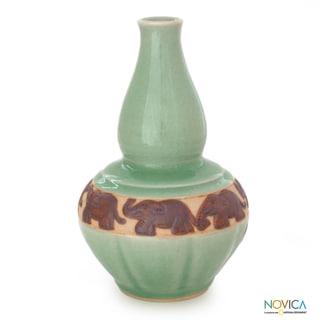 Celadon Ceramic 'Elephant Heralds' Vase (Thailand)