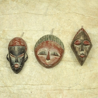 Set of 3 Sese Wood &#39;Three Kings&#39; Ornaments (Ghana)