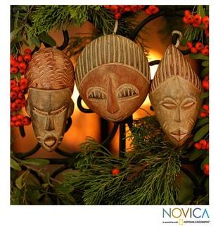 Set of 3 Sese Wood 'Three Kings' Ornaments (Ghana)