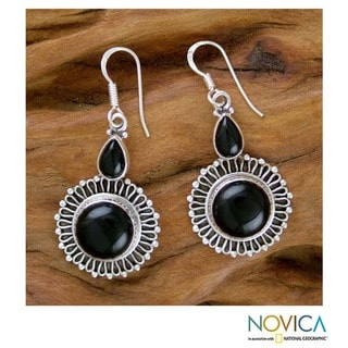 Sterling Silver 'Moonlit Bouquet' Onyx Flower Earrings (India)