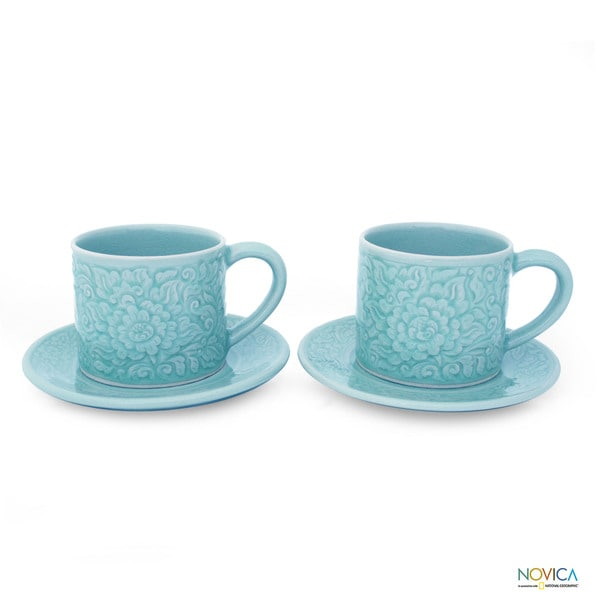 Set of 2 Celadon Ceramic 'Rose of Sharon' Cups and Saucers (Thailand) 10278181
