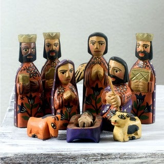 Set of 10 Handcrafted Pinewood &#39;Angelical&#39; Nativity Scene (Guatemala)