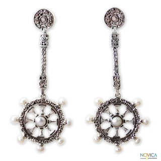 Sterling Silver 'Sea Wind' Pearl Earrings (3-4.5mm) (Indonesia)
