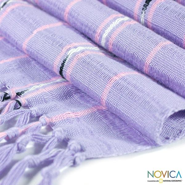 Handcrafted Cotton 'Guatemala Gladiola' Scarf (Guatemala)