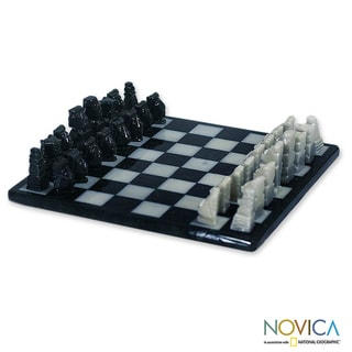 Handcrafted Marble 'Lake Peten Itza' Chess Set (Guatemala)