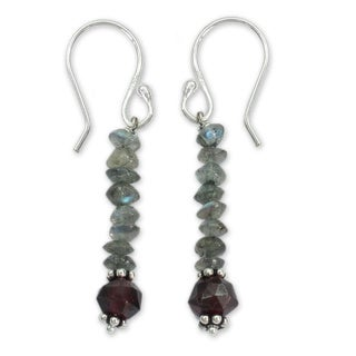 Sterling Silver 'Evening Mist' Labradorite and Garnet Earrings (India)