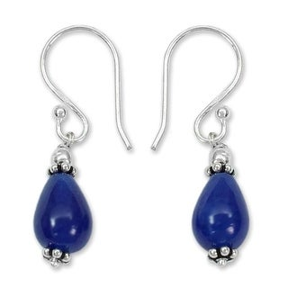 Sterling Silver 'Blue Dewdrop' Blue Chalcedony Earrings (India)