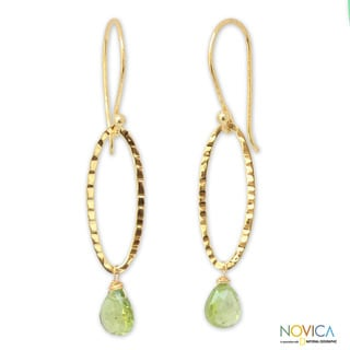 Gold Overlay 'Iris Dewdrop' Peridot Dangle Earrings (Thailand)