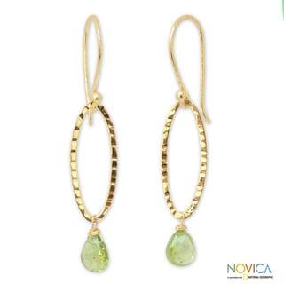 Gold Overlay 'Iris Dewdrop' Peridot Dangle Earrings (Thailand)