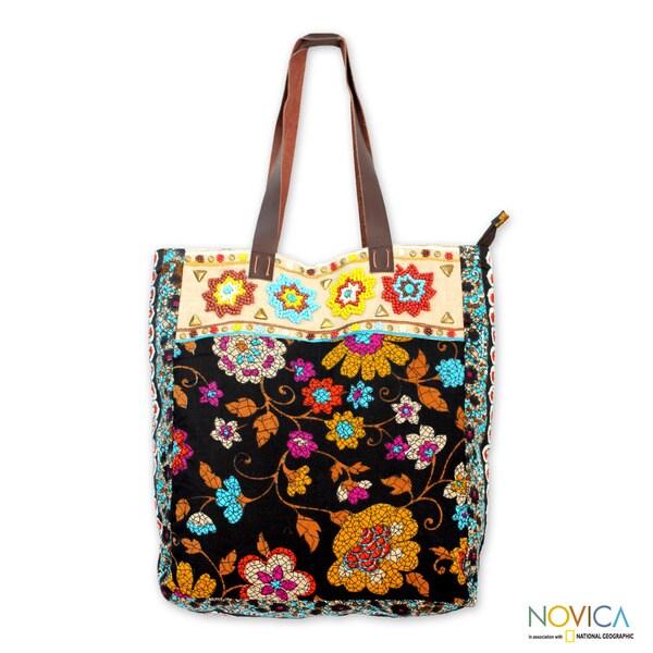 Beaded Cotton 'Faridabad Flowers' Large Tote Handbag (India)