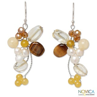 Multi-gemstone 'Radiant Bouquet' Pearl Earrings (5 mm) (Thailand)