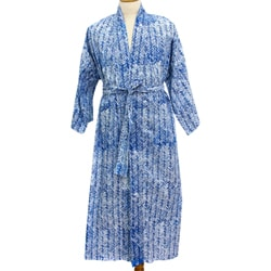 Cotton Men's 'Blue Baskets' Robe (Indonesia)