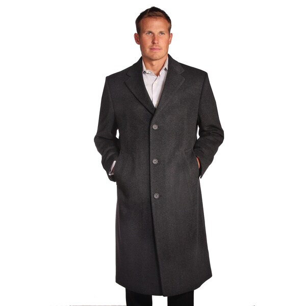 Jean Paul Germain Men's Charcoal Gray Wool/Cashmere Blend Sander Coat
