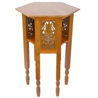 EXP Natural Teak Wood End-table with Carved Wood Panels
