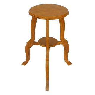 Natural Teak Wood End Table with Cabriole Legs