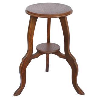 Walnut-tone Teak Wood End Table with Cabriole Legs