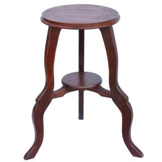Mahogany-tone Teak Wood End Table with Cabriole Legs