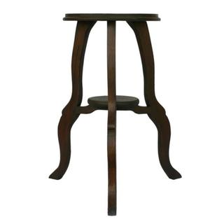 Brown Teak Wood End Table with Cabriole Legs